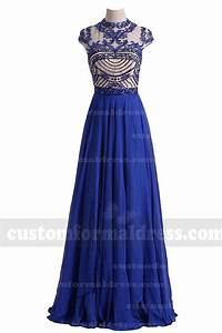 2017 Beaded Long Royal Blue Prom Dresses with Sleeves Open ...