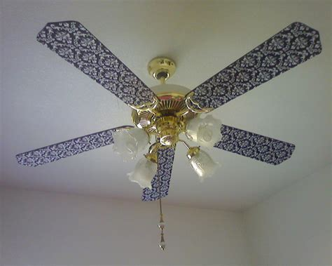 how to cover ceiling fan blades in fabric make