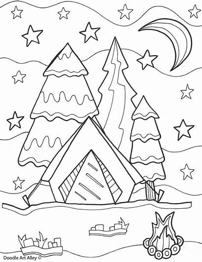 Coloring Summertime Camping Doodle Alley Printable Printables