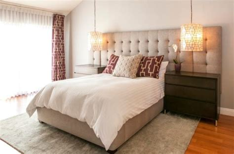 high  hotel styled bedroom   oversized tufted