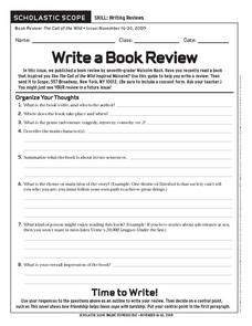 scholastic scope write  book review worksheet
