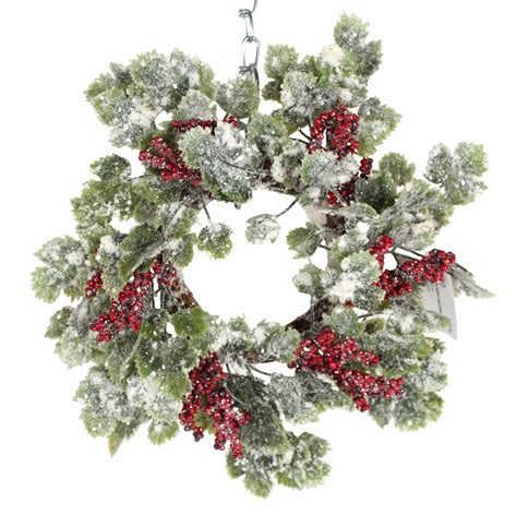 candle ring snow red berries 12 inch snow sparkled candle ring with berries 886505684750 ebay