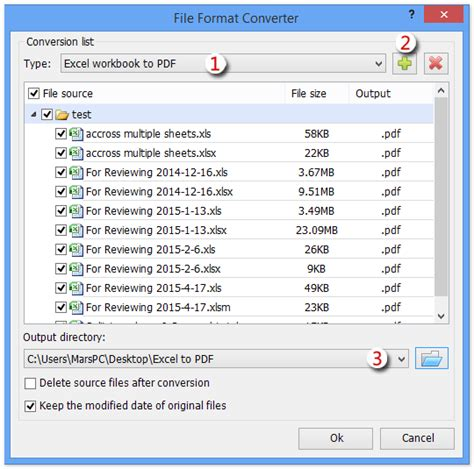 converting excel sheets to pdf export