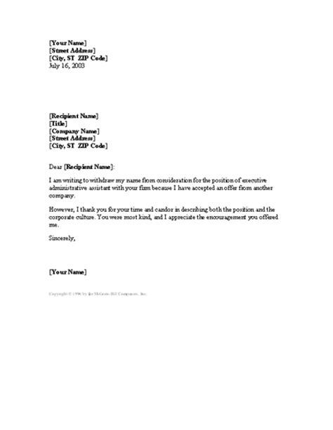 Sample Letter For Rescinding An Accepted Job Offer | Sample Business Letter