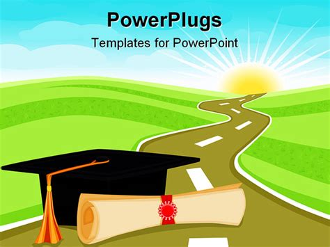 celebrating graduation day and a bright new future ahead powerpoint template background of