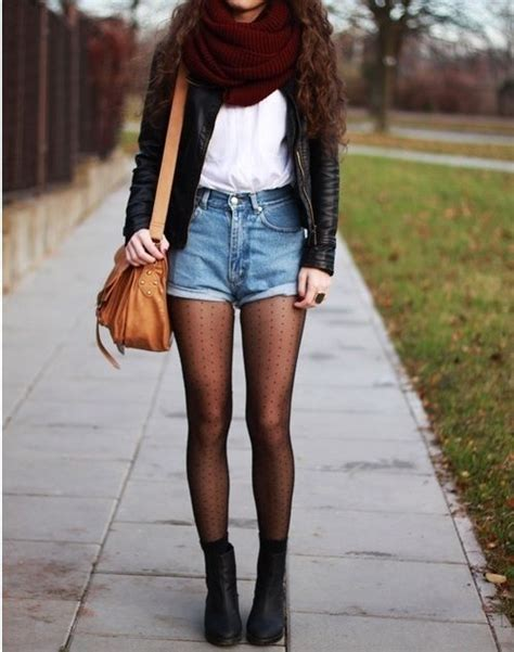 Tights and maroon with denim shorts #outfits | Fashion | Pinterest | Tights Shorts and Denim Shorts