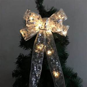amazon, com, , hao, christmas, tree, topper, bow, with, led, , grow, in, light, up, printed, ribbon, toppers