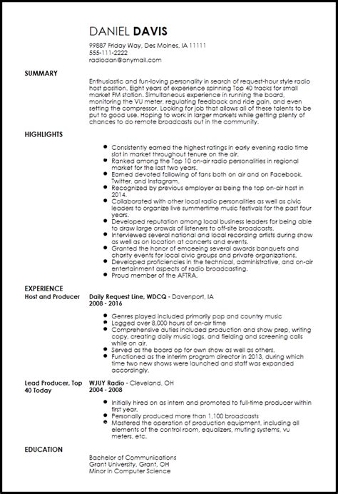 Radio Host Resume Sample