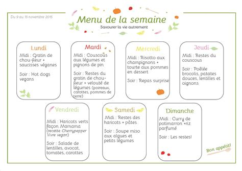 menus de la semaine version v 233 g 233 tale