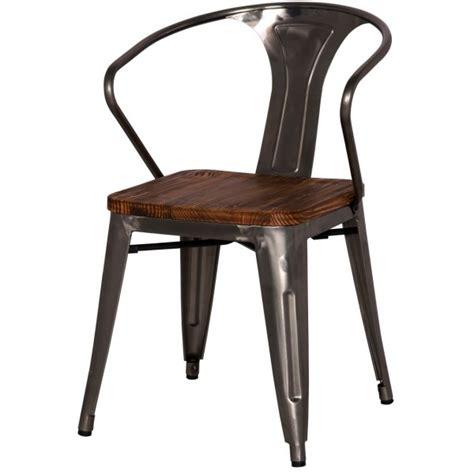 metropolis metal arm chair wood seat