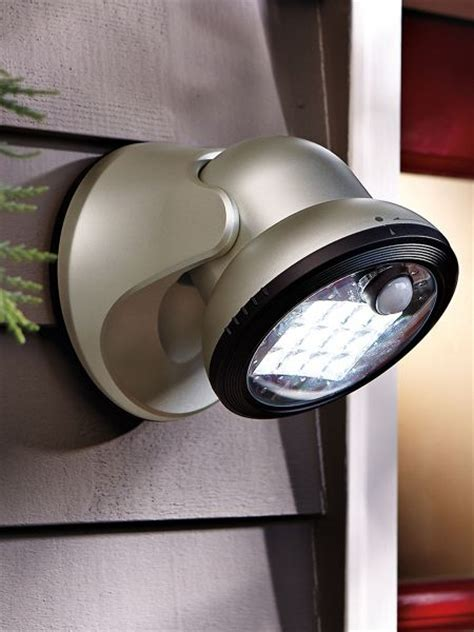 battery powered led motion outdoor security light gold