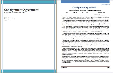 ms word consignment agreement template word document