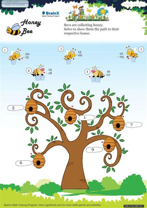 honey bee math worksheet  grade   printable