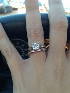 solitaire with plain rose gold band engagement rings With solitaire ring with plain wedding band