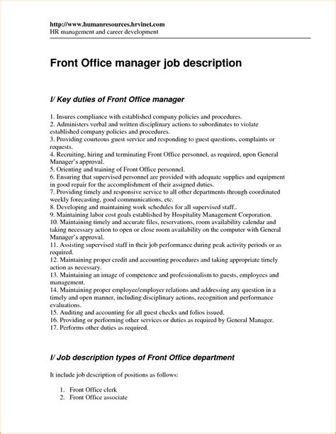 12 front desk manager job description invoice template