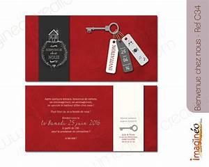 Pendaison De Crémaillère Invitation : carton invitation cr maill re bienvenue chez nous pendaison cr maill re rouge gris ivoire ~ Melissatoandfro.com Idées de Décoration