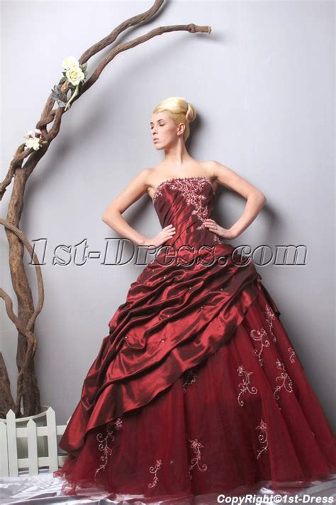 dress maroon unique strapless burgundy quinceanera dresses 2013