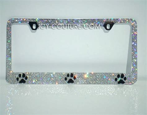 paw prints license plate frame  swarovski crystals whats  colors