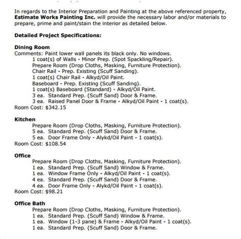 9 painting estimate templates pdf excel