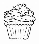 Coloring Cupcake Pages Cupcakes Sprinkles Hearts Birthday Sheets Printable Adult sketch template