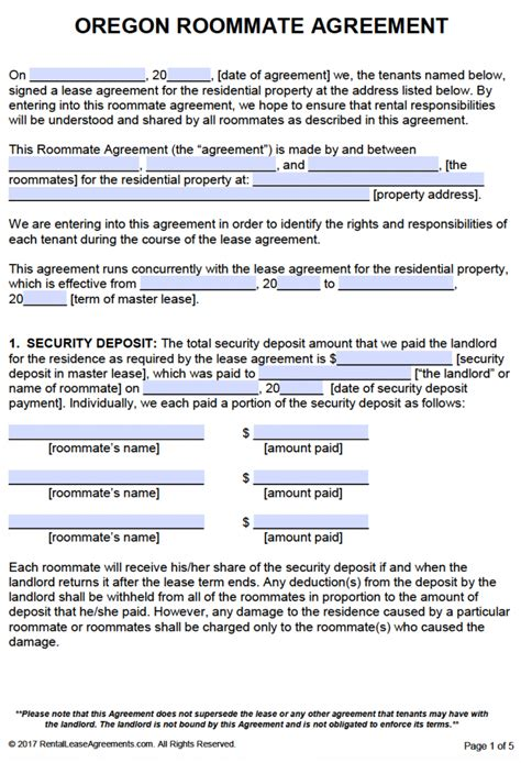 lease agreement sample free oregon roommate agreement template pdf word