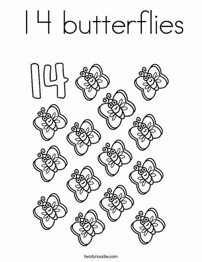 Coloring Butterflies Number Pages Fourteen Worksheets Numbers