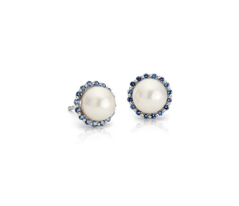 sapphire  freshwater cultured pearl halo stud earrings