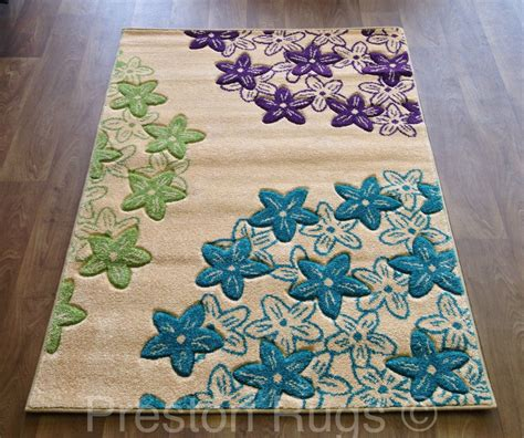 teal and green rug rug runner modern floral teal blue green purple small