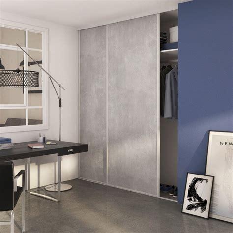 porte placard cuisine leroy merlin porte de placard coulissante béton spaceo 250x98cm