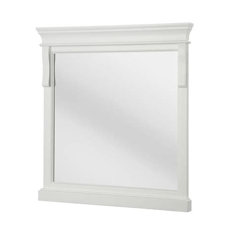White Wood Bathroom Mirror by Foremost Naples 30 In X 32 In Framed Wall Mirror In