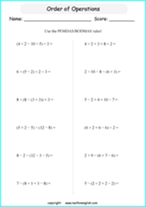 math order  operations worksheets   bodmas