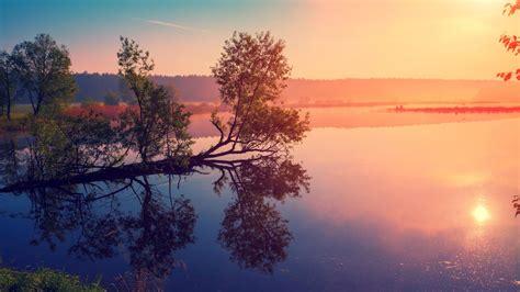 wallpaper sunrise lake morning  nature