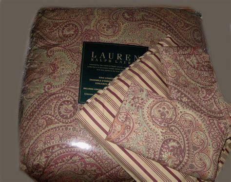 ralph lauren king comforter set pc burgundy wine paisley