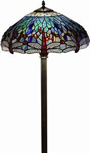 Floor lamp stained glass shade tiffany style dragonfly for Boardwalk tiffany floor lamp
