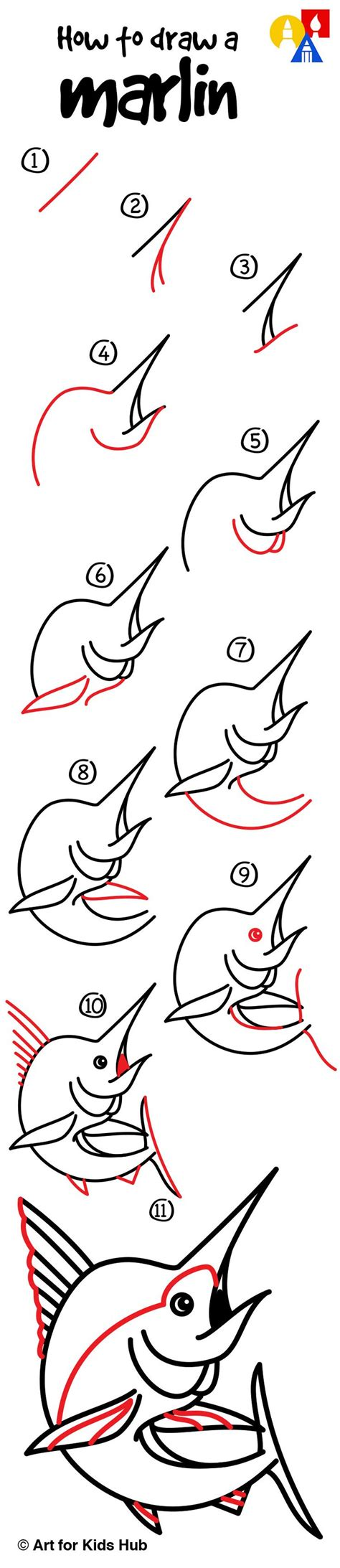 How To Draw A Boat Art Hub by How To Draw A Marlin Art For Kids Hub Ska How To