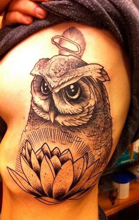 black white owl tattoo wlotus flower  halo
