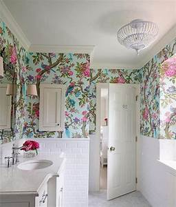 floral royal bathroom wallpaper ideas on small white With what kind of paint to use on kitchen cabinets for papier peint wc