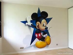 Decoration Murale Chambre Enfant : d coration murale graffiti a rosol pour chambre d 39 enfant mickey mouse ~ Teatrodelosmanantiales.com Idées de Décoration