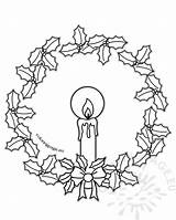 Coloring Wreath Candle Cats Dogs sketch template
