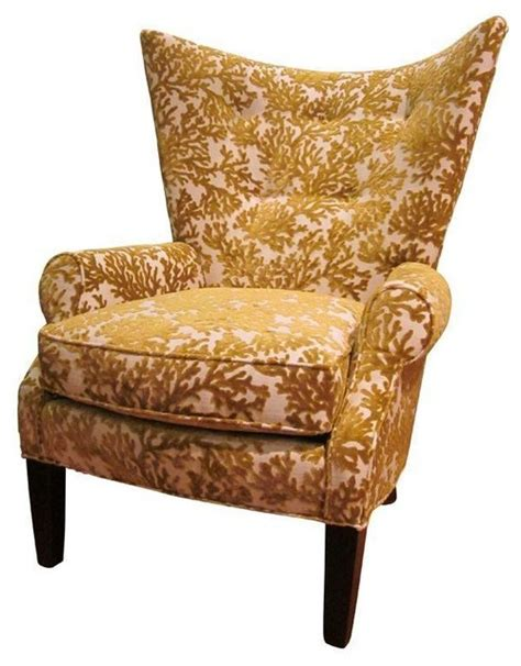 pre owned wing chair in gold cut velvet by eclectic