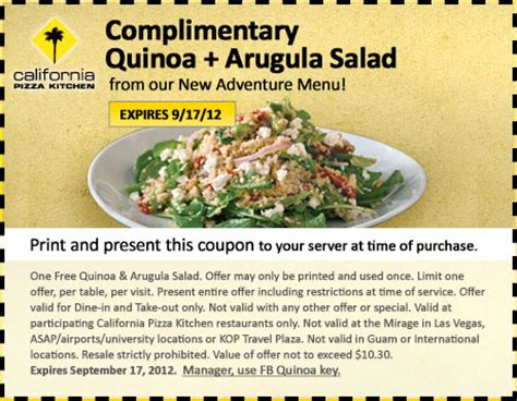 california pizza kitchen coupons california pizza kitchen free quinoa arugula