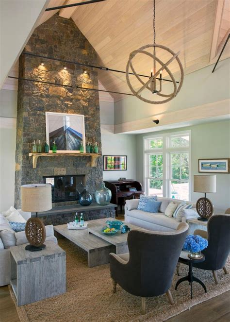 cape  great room  stone fireplace hgtv