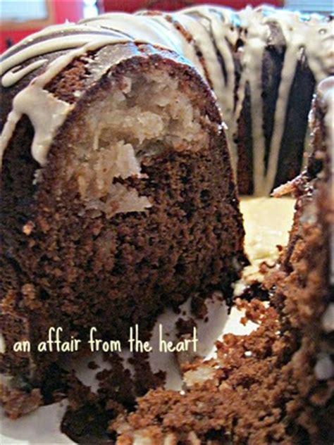 chocolate macaroon bundt cake  affair   heart