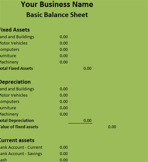 basic balance sheet  excel templates