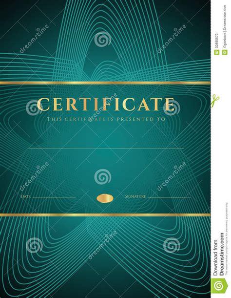 dark green certificate diploma template stock vector