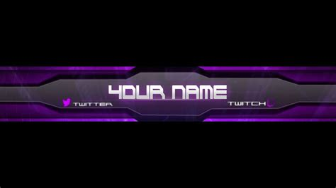 purple cyborg youtube banner template adobe photoshop