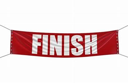 Finish Banner Line Clipart Start Drawing Finishing
