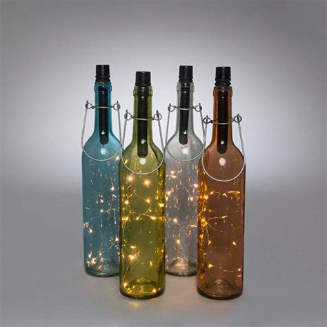 wine bottle led lights gerson 93245 13 75 quot 3 assorted colors 3 clear glass