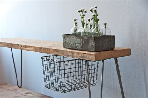 sliding basket drawers reclaimed wood bench w sliding basket drawer and hairpin legs
