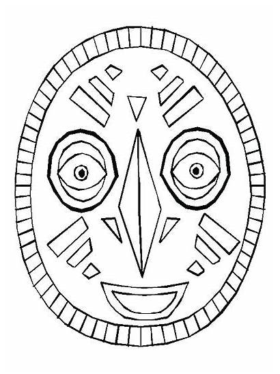 African Mask Coloring Pages Printable Template Masks